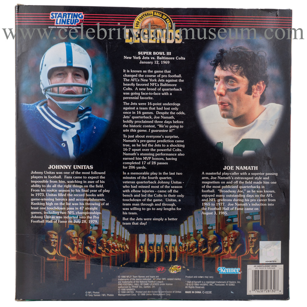 Joe Namath and Johnny Unitas Action figure set box back