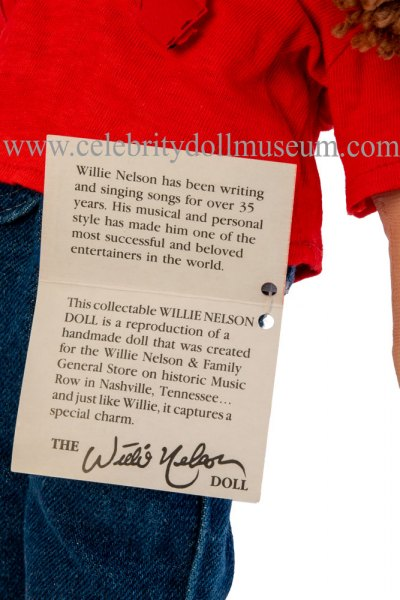 Willie Nelson doll tag inside