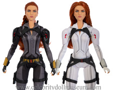 The two Scarlett Johansson Mattel Black Widow dolls.