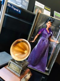 Mattel's Ella Fitzgerald doll displayed with her Grammy Award at the Ella Fitzgerald foundation